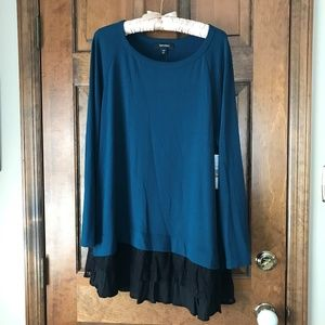 Karen Kane Teal Sweater w/Black Lace Hemline 3X